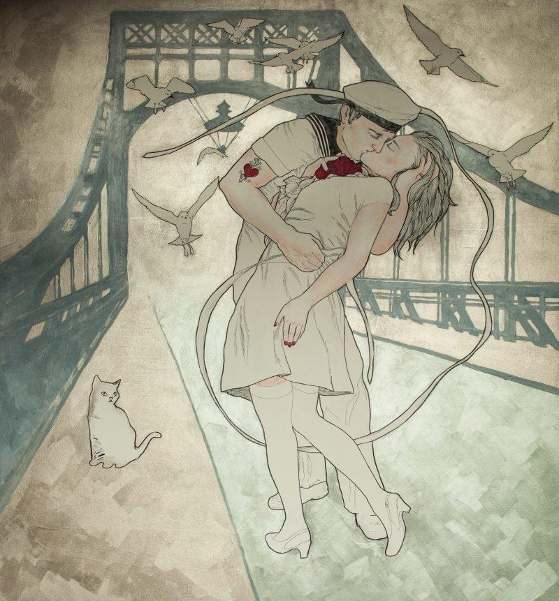 Der Kuss auf der Kaiser Wilhembrücke
